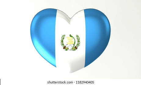 Heart shaped flag 3D Illustration I love Guatemala