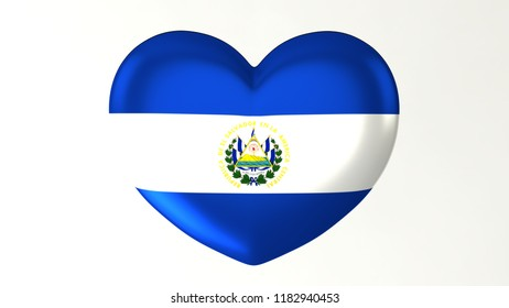 Heart shaped flag 3D Illustration I love El Salvador