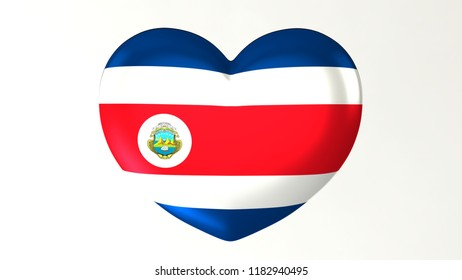 Heart shaped flag 3D Illustration I love  Costa Rica