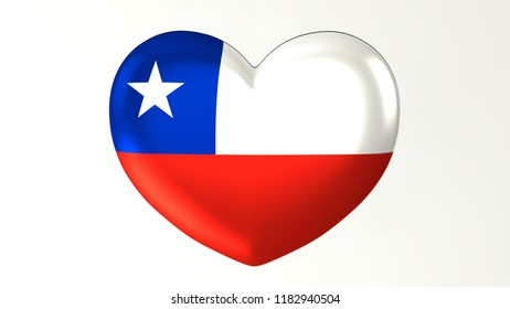 Heart shaped flag 3D Illustration I love  Chile