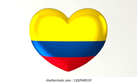 Heart shaped flag 3D Illustration I love  Colombia