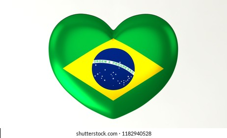 Heart shaped flag 3D Illustration I love Brazil