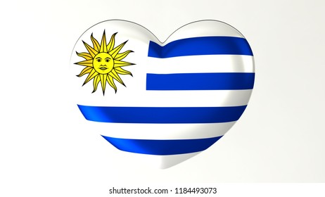 Heart shaped flag 3D Illustration I love Uruguay