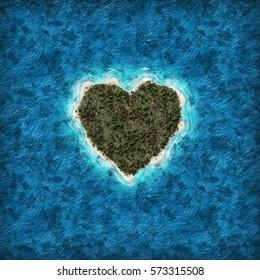 Heart Shaped Island: 3D Illustration