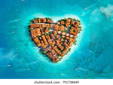 Heart shaped island aerial view with beautiful old European city architecture buildings. Cityscape, blue sea, ocean top drone view. Tourism, travel, vacation, holidays 3D concept design illustration