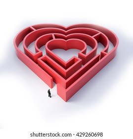 Heart shaped maze - love and relationship concept 3D illustration