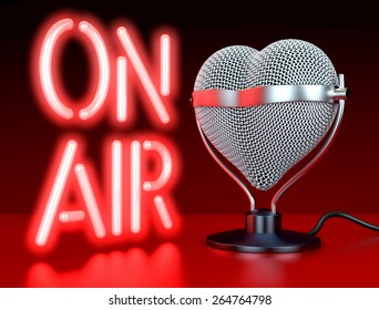 """Heart shaped microphones on reflecting, red surface in front of, lateral  to neon sign, letters """"On Air"""", 3d rendering"""