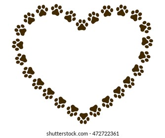 Heart shaped paw print frame / border for animal lovers