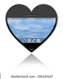 Heart shaped smart phone on a white background