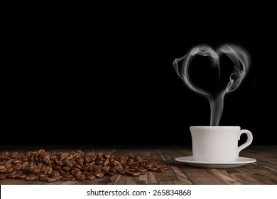 Heart shaped smoke over hot fresh cup of coffee with coffee beans (3D Rendering)