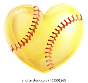 A heart shaped yellow softball ball concept for a love of the game of softball