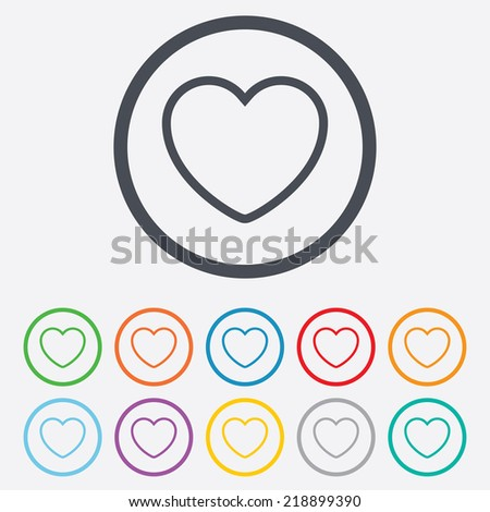 Heart Sign Icon Love Symbol Round Stock Illustration Royalty Free