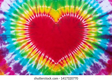 heart sign tie dye pattern hand dyed on cotton fabric  abstract background.
