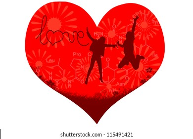heart with silhouettes of two people and chemical formula of oxytocine - love hormone