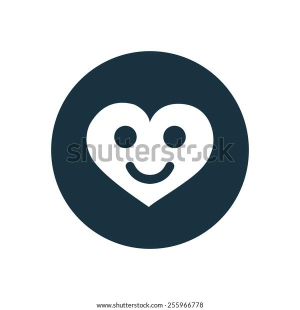 heart smile icon on white background