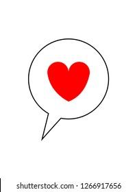 Heart in a speech bubble on white background