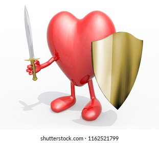 Heart with sword and shield, 3d illustration