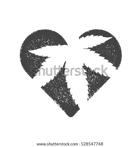 Heart Symbol Cannabis Leaf Inside Marijuana Stock Illustration