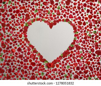 Heart symbol made of flovers and leaves on background.  Heart Image - 3D Rendering