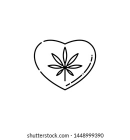 Heart symbol with marijuana leaf inside line icon - thin outline pictogram of cannabis consumption affecting heart and causing cardiovascular disorders in isolated illustration.