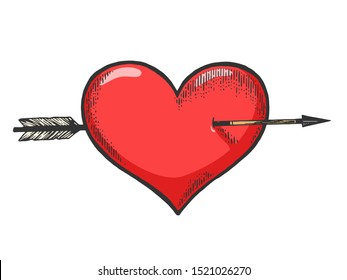Heart symbol pierced with arrow sketch engraving raster illustration. Romantic love lovesickness symbol. Tee shirt apparel print design. Scratch board imitation. Black and white hand drawn image.