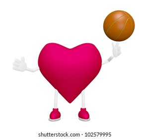Heart training with basketball heart health sport concept 3d on white background