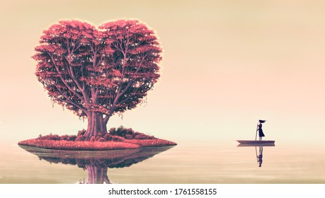 Heart tree on island with woman on a boat and man reflection ,surreal love concept artwork, imagination art, fantasy landscape painting, dreamlike illustration, love romantic concept