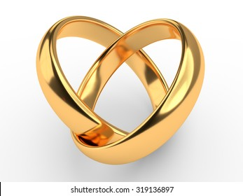 Heart with two connected gold wedding rings