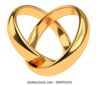 Heart with two connected gold wedding rings isolated on white