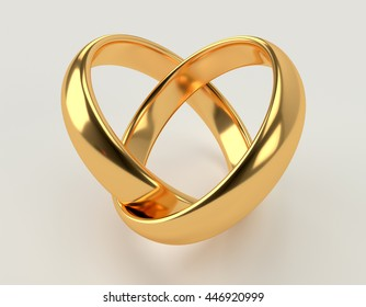 Heart with two connected gold wedding rings. 3d render