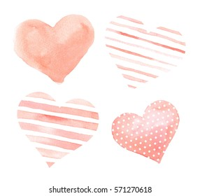 Heart Watercolor clip art, beautiful template card, Valentines Day ,Hand-painted, illustration, Hand drawn, illustration