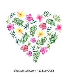Heart with watercolor tropical flowers and leaves