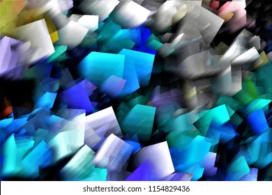 heart of woman scorned, tribute to Pollock, Series of cubist abstract illustration of different colors, blue,whait, grey,mauve,
