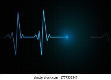 Heartbeat Cardiogram cardiograph oscilloscope screen blue illustration background. Heartbeat line or ECG pulse monitor health equipment