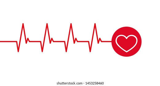 heartbeat cardiography simple graphic isolated on white illustration