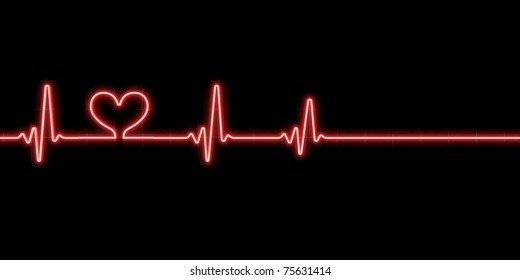 Heartbeat with heart symbol isolated on white
