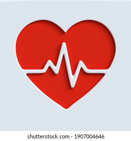 Heartbeat pulse icon. 3d render