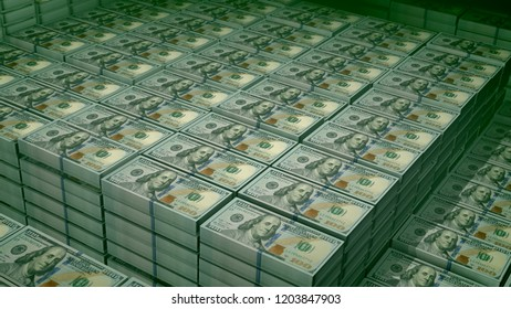A heartbreaking 3d illustration of 100 dollar bills placed in bundles in a big bank depository. On the observe of the respected bills there are pictures of Founding Father Benjamin Franklin.
