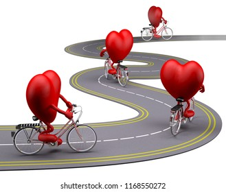 hearts with arms and legs on bicycle on the road, 3d illustration
