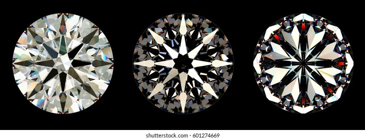 Hearts and arrows pattern of an ideal symmetrical round brilliant diamond cut, visible under special lighting conditions. Close-up view isolated on black background. 3D rendering illustration.