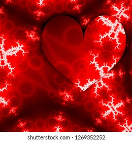 Hearts for celebration design. Love happy valentines day card with red hearts frame and white fractals in form of arrow