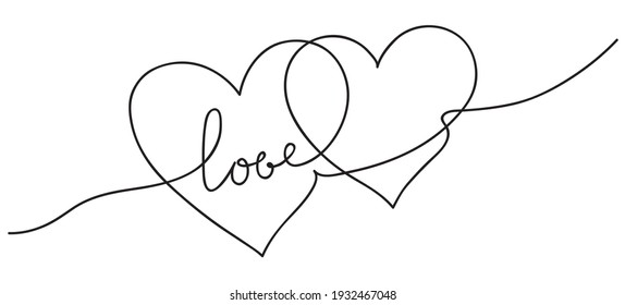 Hearts. Continuous line art drawing. Wedding concept. Best friend forever. Black and white illustration