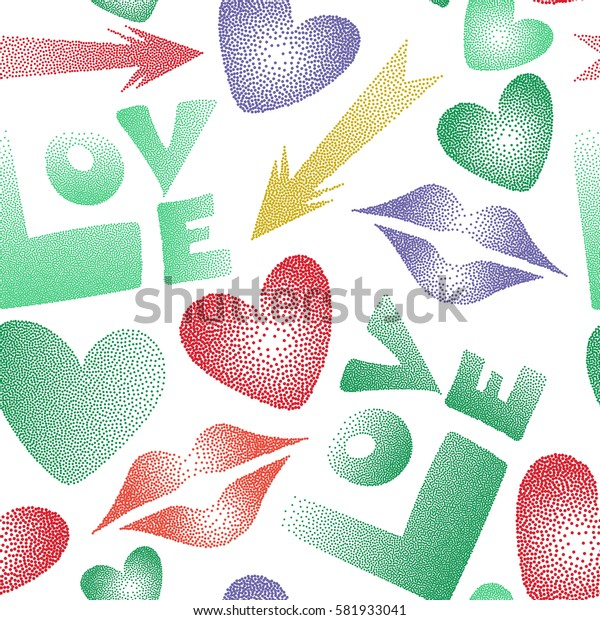 Hearts, cupid's arrow, lipstick kisses and love word seamless pattern. Love symbols in yellow, violet and green colors on a white background.