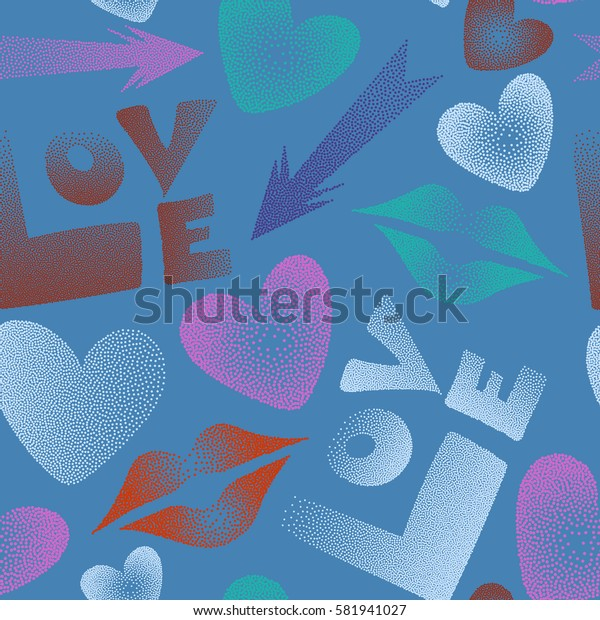 Hearts, cupid's arrow, lipstick kisses and love word seamless pattern. Romantic love symbols in blue, orange and violet colors.