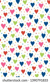Hearts and Dots, seamless repeat pattern, raster illustration, Colourful, 3300x5100 pixels, 300dpi
