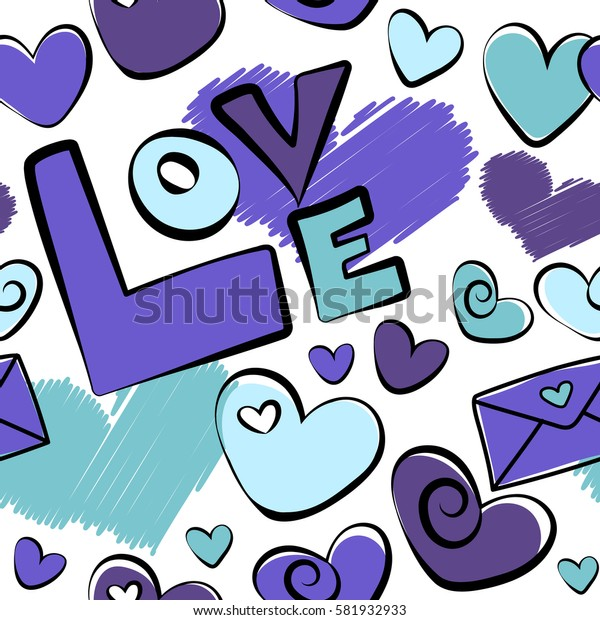 Hearts and love letter in blue and violet colors on a white background. Colorful art for cards, packaging, paper, typography, business card, tissues. Seamless heart pattern, valentines.