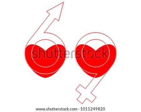 Hearts Male Female Symbols 69 Stock Illustration 1011249820