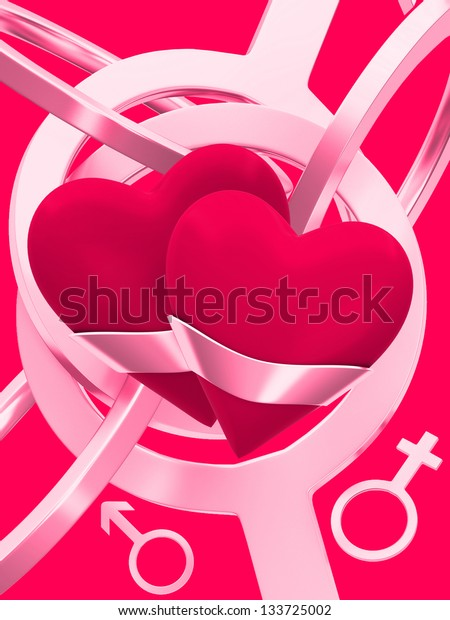 Hearts on an abstract background