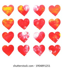 Hearts pattern hand drawn acrylic. Greeting card for valentines day, wedding. Monotype art, texture, abstract  acrylic painting. Design for poster, wallpaper, cover and packaging. Isolated on white.