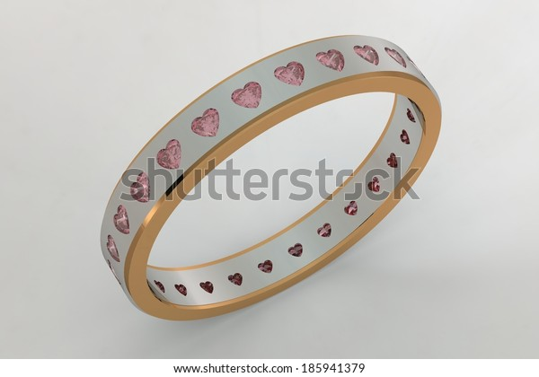 Hearts pink diamond ring/Gold ring